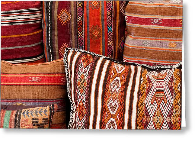 Turkish Cushions 01 Greeting Card by Rick Piper Photography