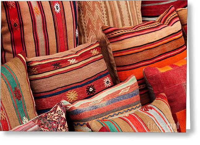 Turkish Cushions 02 Greeting Card by Rick Piper Photography