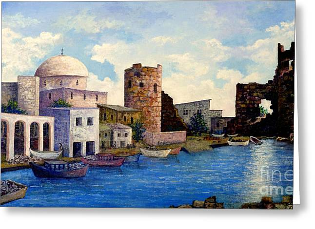 Turkish Ruins On The Med Greeting Card by Lou Ann Bagnall