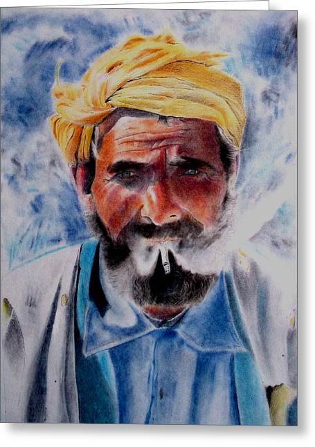 Turkish Smoker In Colour Greeting Card