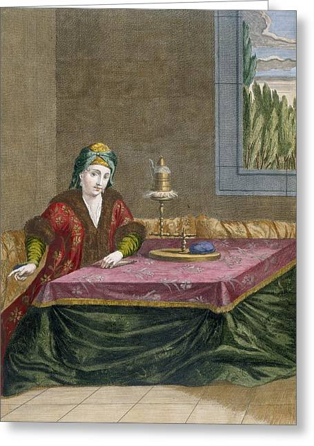 Turkish Woman Spinning Thread, C.1708 Greeting Card