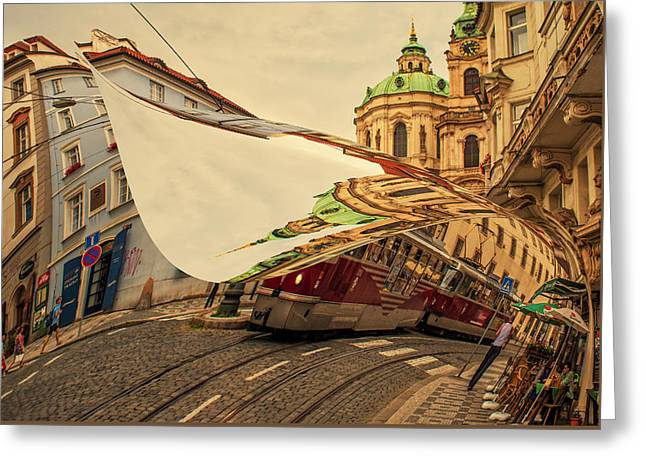 Turn The Page Of Past Day. Prague Streets Greeting Card by Jenny Rainbow