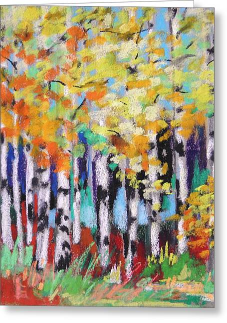 Turning Birches Greeting Card by John Williams