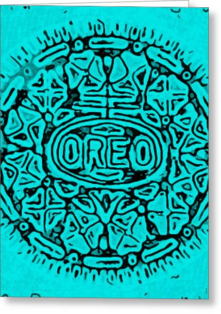 Turquoise Oreo Greeting Card by Rob Hans