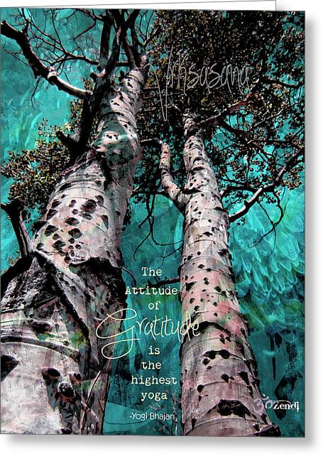 Greeting Card featuring the photograph Turquois Trees  by Cindy Greenstein