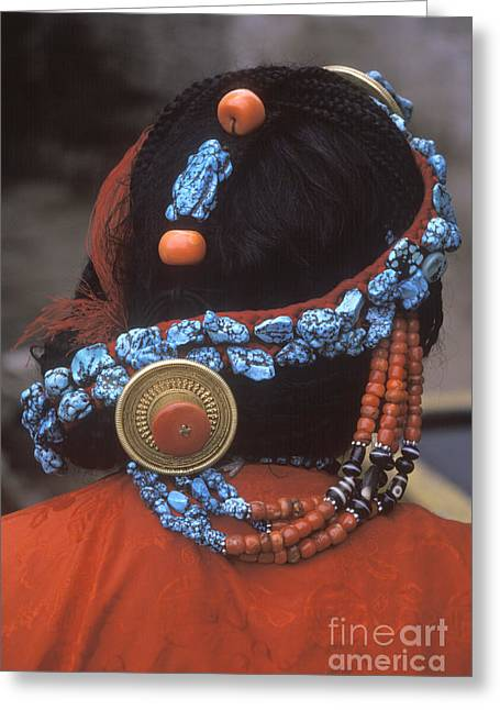 Turquoise And Coral Hair Piece - Lhasa Tibet Greeting Card by Craig Lovell