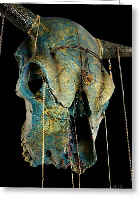 Turquoise And Gold Illuminating Steer Skull Greeting Card by Mayhem Mediums