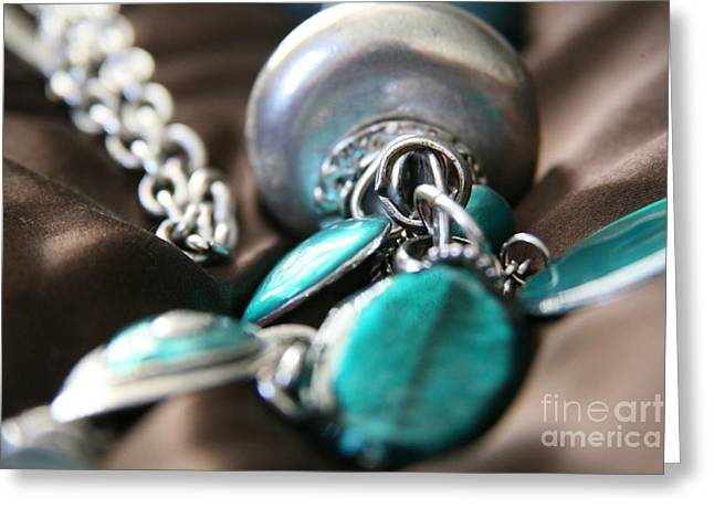 Greeting Card featuring the photograph Turquoise And Silver by Lynn England