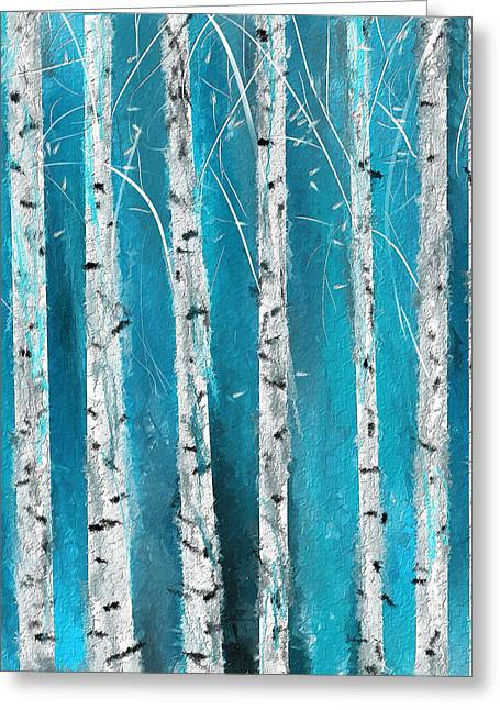 Turquoise Birch Trees II- Turquoise Art Greeting Card by Lourry Legarde