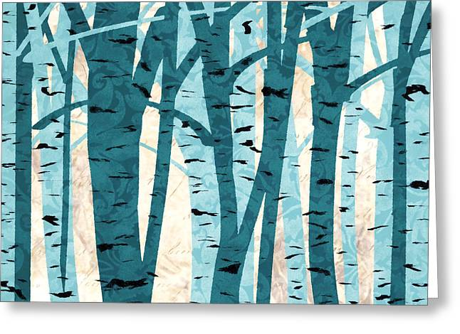 Turquoise Birch Trees Greeting Card by Lourry Legarde