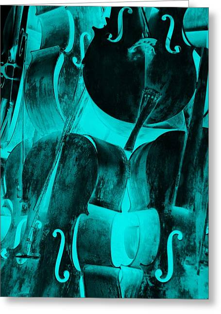 Turquoise Cellos Greeting Card by Rob Hans
