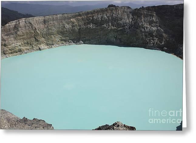 Turquoise Crater Lake Of Kelimutu Greeting Card