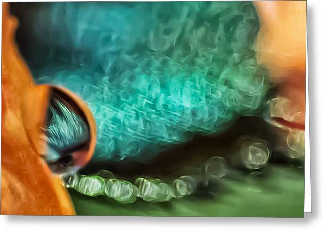 Turquoise Damsel Greeting Card by Kenneth Haley