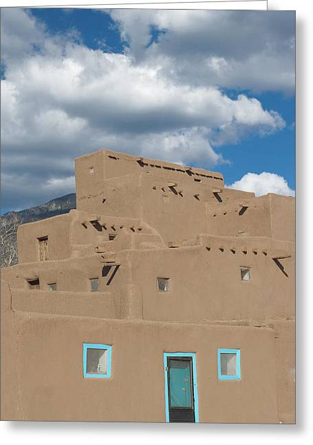 Turquoise Door And Windows Greeting Card by Elvira Butler
