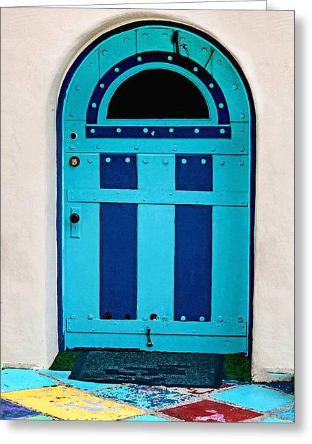 Turquoise Door Greeting Card