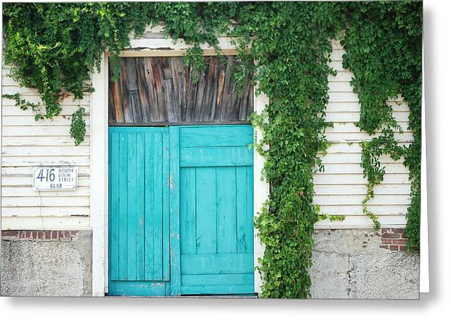 Turquoise Door Greeting Card by Pamela Schreckengost