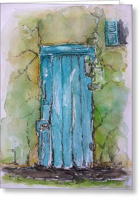 Turquoise Door Greeting Card by Stephanie Sodel