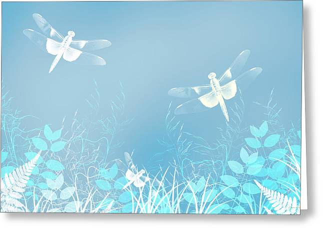 Turquoise Dragonfly Art Greeting Card by Christina Rollo