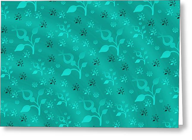 Turquoise Floral Mix Greeting Card by Gaspar Avila