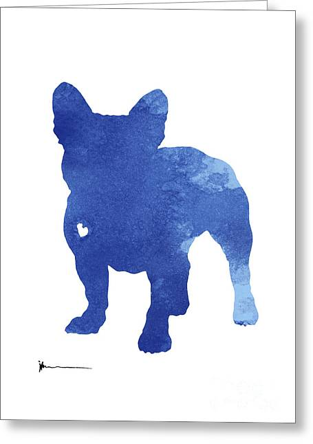 Turquoise French Bulldog Silhouette Greeting Card by Joanna Szmerdt