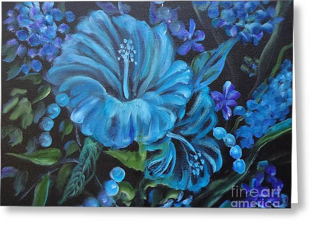 Turquoise Hibiscus Greeting Card by Jenny Lee
