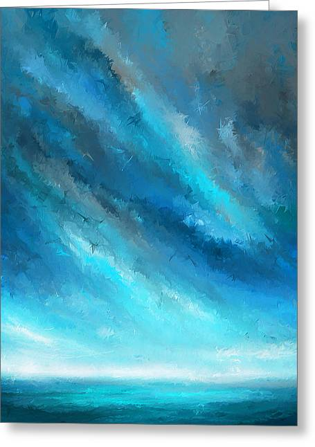 Turquoise Memories - Turquoise Abstract Art Greeting Card by Lourry Legarde