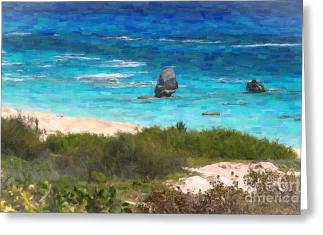 Greeting Card featuring the photograph Turquoise Ocean And Pink Beach by Verena Matthew
