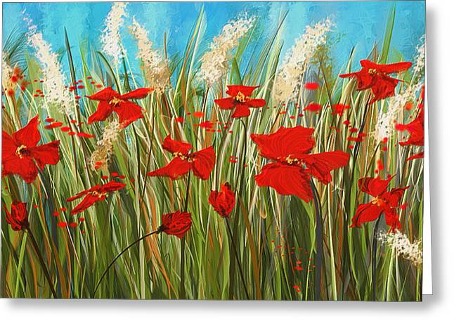 Turquoise Poppies - Red And Turquoise Art Greeting Card