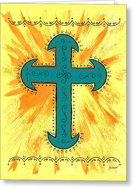 Greeting Card featuring the painting Turquoise Southwestern Cross by Susie Weber