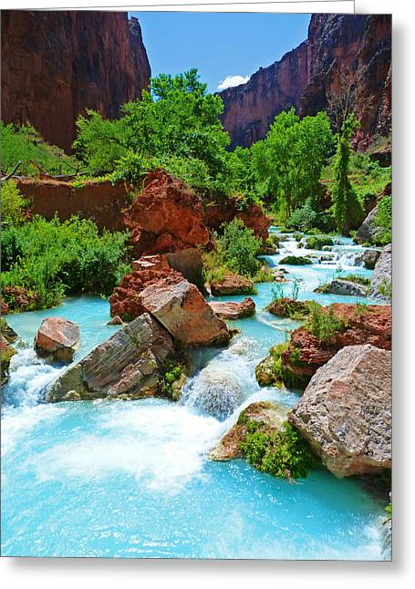 Turquoise Stream Greeting Card