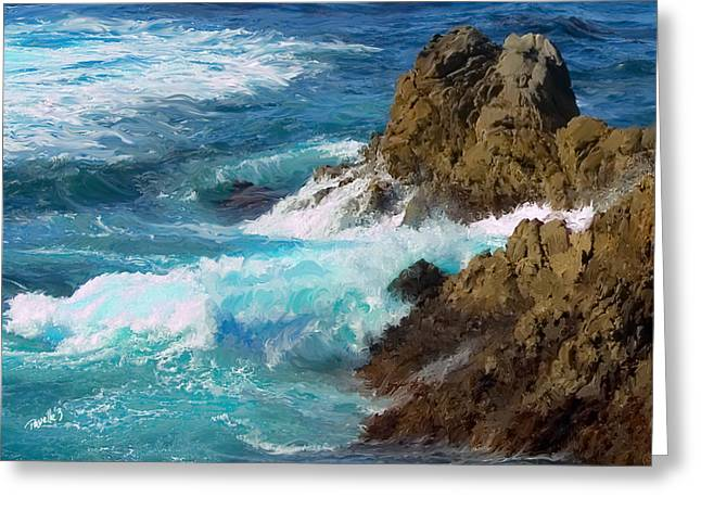 Turquoise Surf II Greeting Card by Jim Pavelle