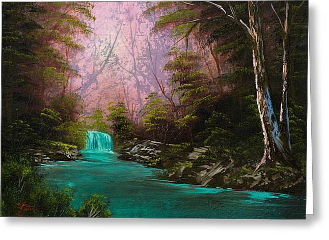 Turquoise Waterfall Greeting Card by Chris Steele