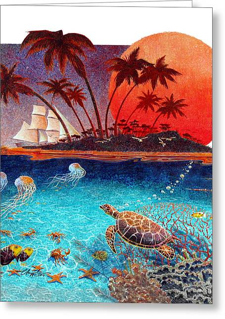 Greeting Card featuring the painting Turtle And Jelly Soup by David  Chapple