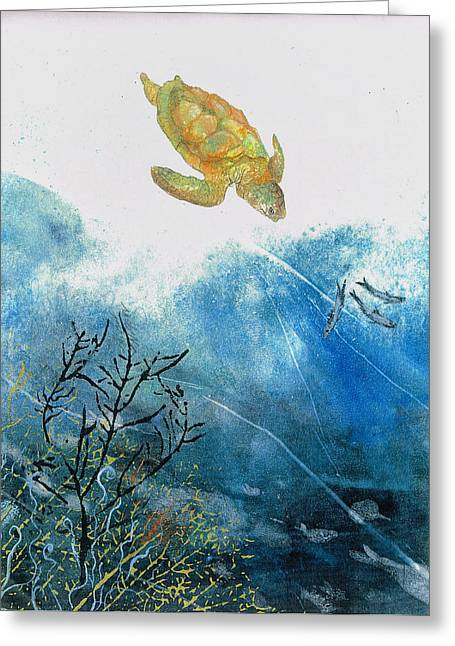 Turtle And Sea Fans Greeting Card
