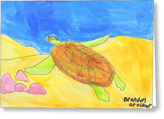 Greeting Card featuring the painting Turtle by Artists With Autism Inc