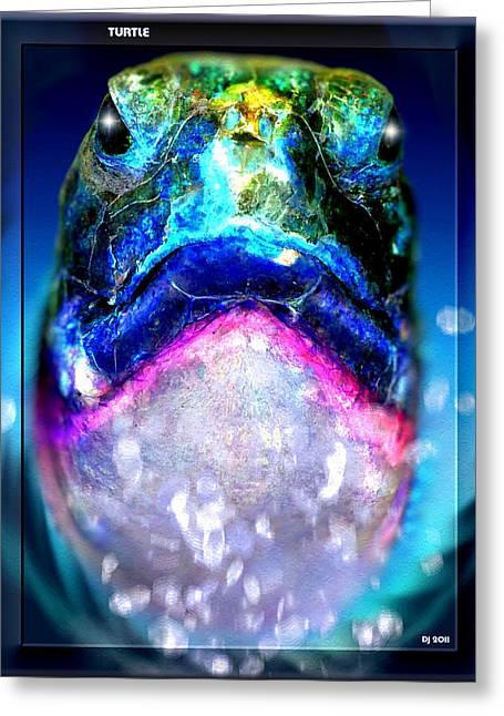 Greeting Card featuring the digital art Turtle by Daniel Janda