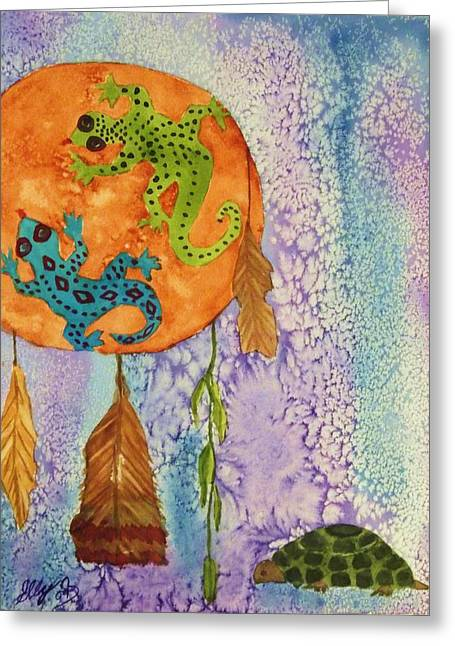 Turtle Dreaming Lizard Greeting Card by Ellen Levinson