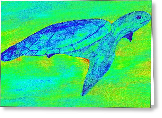 Turtle Life - Digital Ink Stamp Green Greeting Card by Brett Smith