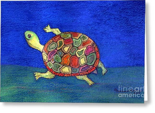 Turtle Trot Greeting Card by Marlene Robbins