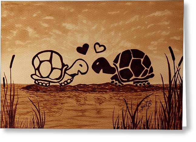 Turtles Love Coffee Painting Greeting Card