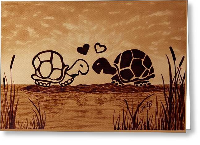 Turtles Love Coffee Painting Greeting Card by Georgeta  Blanaru