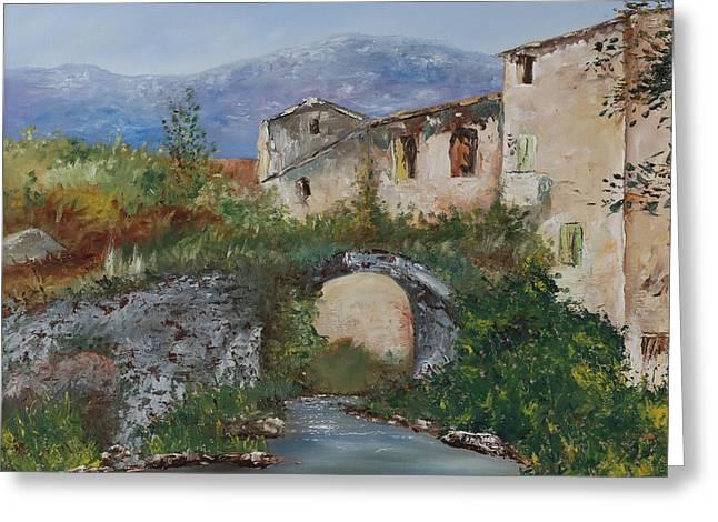 Tuscan Bridge Greeting Card by Andrew Sanan
