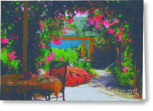 Greeting Card featuring the painting Tuscan Courtyard by Tim Gilliland