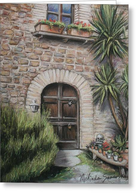 Tuscan Doorway La Parrina Greeting Card by Melinda Saminski