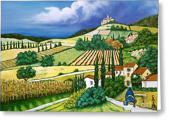 Tuscan Fields Greeting Card by William Cain