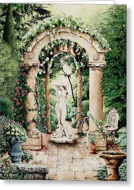 Tuscan Garden Greeting Card by Susan Frech-Sims