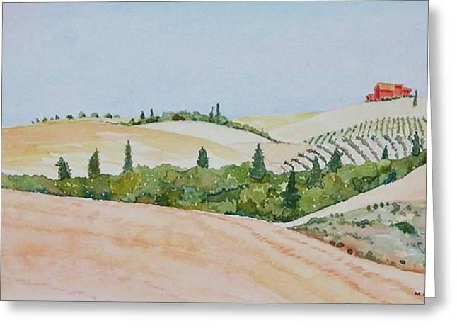 Tuscan Hillside One Greeting Card by Mary Ellen Mueller Legault