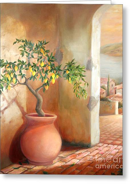 Greeting Card featuring the painting Tuscan Lemon Tree by Michael Rock