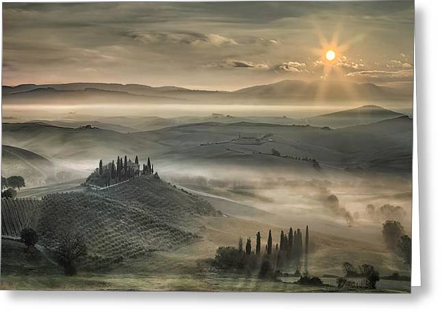 Tuscan Morning Greeting Card by Christian Schweiger
