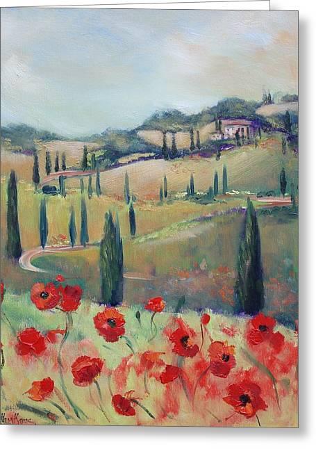 Tuscan Poppies Greeting Card by Kathy  Karas